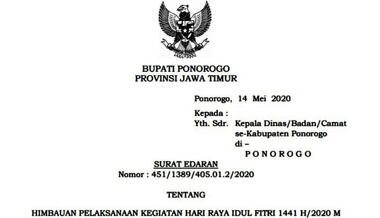 Edaran Bupati Ponorogo Soal Pelaksanaan Kegiatan Idul Fitri 1441 H 2020 M