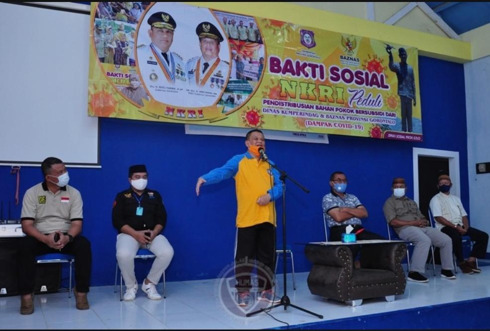 Baksos NKRI Peduli, 1600 KPM Dua Kecamatan di Bone Bolango Terima Bantuan Pokok Bersubsidi