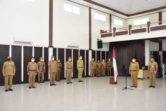 Wali Kota Gorontalo, Marten Taha saat memimpin Apel Kerja Perdana Tahun 2021
