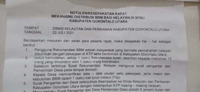 Mekanisme Distribusi BBM Bersubsidi bagi Nelayan di Gorontalo Utara